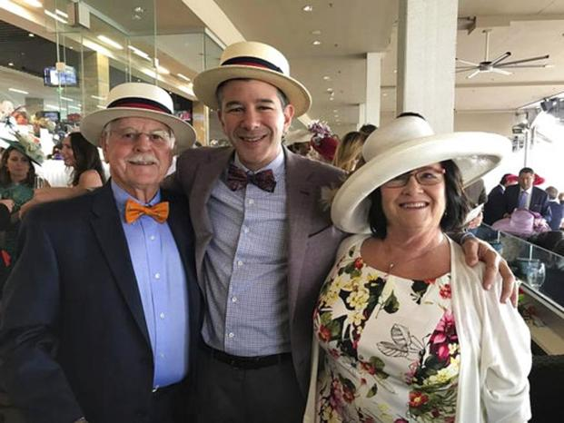 Travis Kalanick, Uber CEO, poses with his mother, Bonnie, and father, Donald Kalanick, at the Kentucky Derby in Louisville, Ky. Photo: Uber via AP