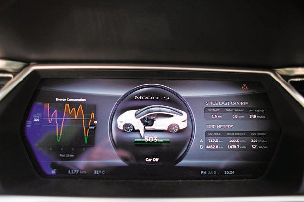 The interior of a Tesla Model S sedan electric car. Currently, use of telematics has been restricted to monitoring performance of vehicles. Photo: Bloomberg