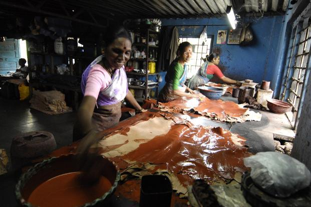 A leather factory in Dharavi, Mumbai. India is the world's second-largest producer of footwear and leather garments. Photo: Abhijit Bhatlekar/Mint