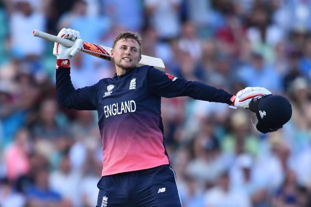 England's Joe Root celebrates after hitting the winning runs in the ICC Champions trophy cricket match between England and Bangladesh at The Oval in London on Thursday. Photo: AFP