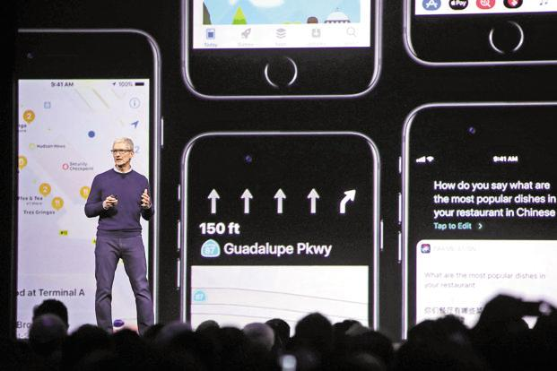 Apple CEO Tim Cook delivering the keynote at the Apple WWDC 2017 in San Jose, California, on Monday. Photo: AFP