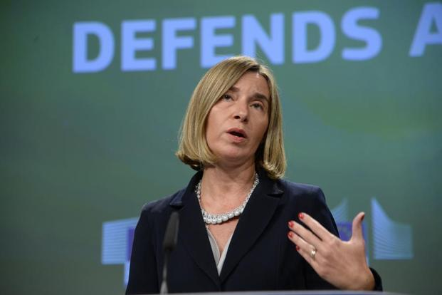 European Union foreign policy chief Federica Mogherini talks to the media during the announcement of EU defence budget in Brussels on Wednesday. Photo: Thierry Charlier/AFP