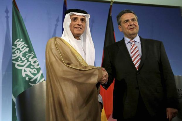 Saudi Arabia foreign minister Adel Al-Jubeir shakes hands with his German counterpart Sigmar Gabriel after a meeting in Berlin, Germany, on Wednesday. Photo: AP/PTI