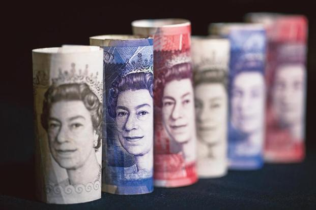 The pound dropped as low as $1.2636 and 88.6 pence per euro before recovering all the way to $1.2741 and 87.70. Photo: Bloomberg