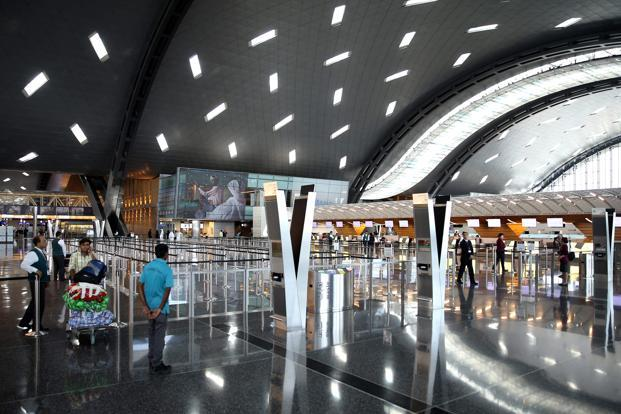 A deserted look of the Hamad International Airport in Doha as Saudi Arabia and it allies put ban on Qatari flights. Photo: AFP