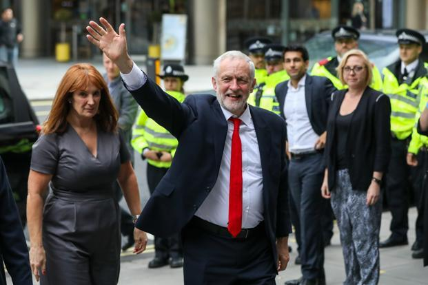Jeremy Corbyn, leader of the Labour Party, on Friday. Photo: Bloomberg