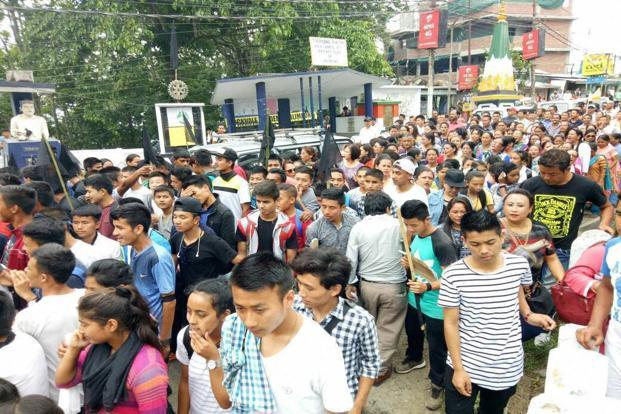 Gorkha Janmukti Morcha (GJM) supporters during a protest in Darjeeling on Thursday. Photo: PTI
