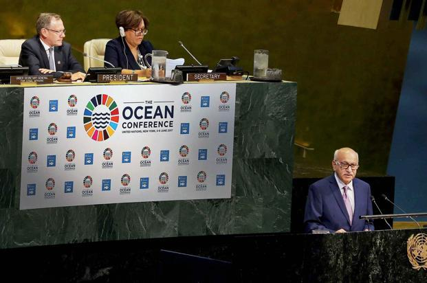 Indian minister of state for external affairs M.J. Akbar addressed the first UN Ocean Conference in New York on Thursday. The conference ended on Friday with the adoption of a Call to Action. Photo: PTI