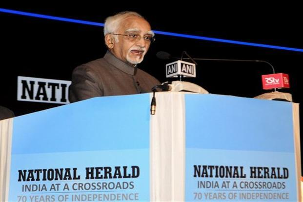 Hamid Ansari said he envisioned a free, unfettered and honest press. Photo: PTI