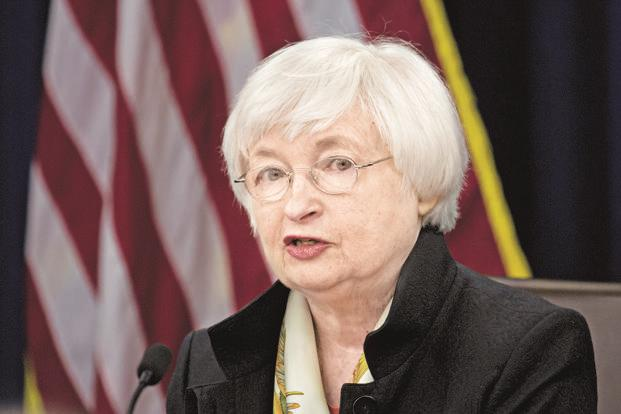 US Federal Reserve policy makers are being pulled in two directions by a spirited drop in unemployment this year and a surprisingly listless reaction in wages and prices. Above, Janet Yellen, chair of the US Federal Reserve. Photo: Bloomberg