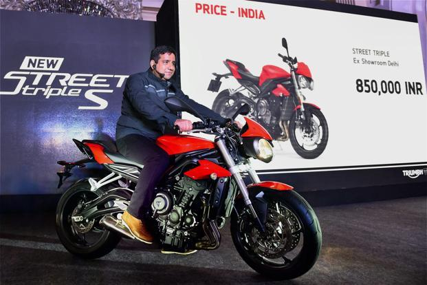 Vimal Sumbly, mananging director of Triumph Motorcycles India, at the launch of the Triumph Street Triple S in New Delhi on Monday. Photo: PTI