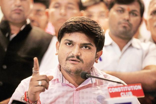 A file photo of the Patidar Andolan leader Hardik Patel. Photo: Hindustan Times