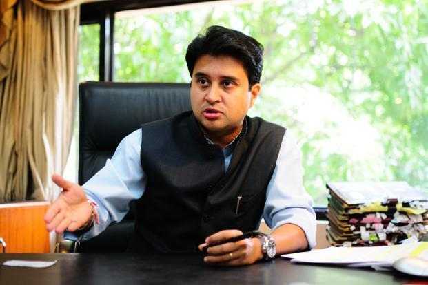 Congress leader Jyotiraditya Scindia and his supporters staged a sit-in at a toll booth demanding that they be allowed to visit Mandsaur. Photo: Mint
