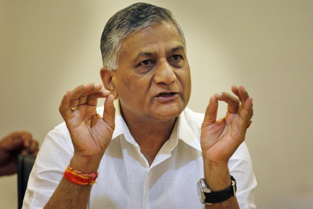A file photo of minister of state for external affairs V.K. Singh. Photo: Hindustan Times