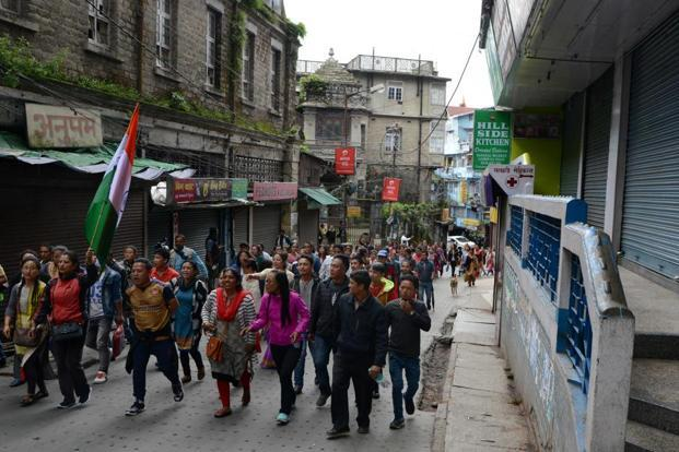 The GJM-sponsored indefinite shutdown of government and Gorkhaland Territorial Administration (GTA) offices in Darjeeling hills began on 12 June. Photo: AFP