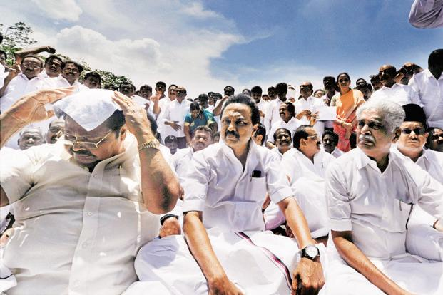 DMK working president M.K. Stalin stages a protest outside the Tamil Nadu Assembly in Chennai on Wednesday. Photo: PTI