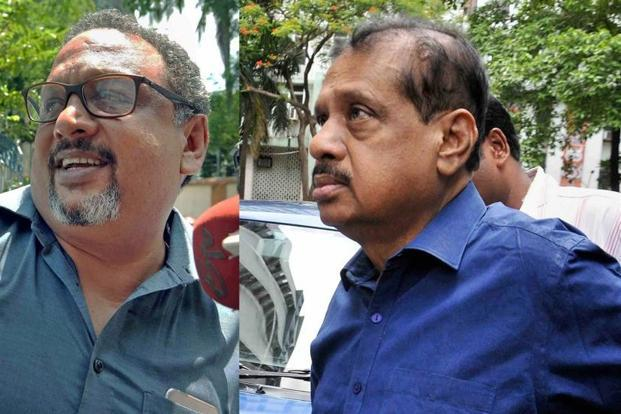 Narada CEO Mathew Samuel and senior Trinamool Congress leader Iqbal Ahmed at a police station in Kolkata for questioning on Thursday in Narada money laundering probe. Photo: PTI