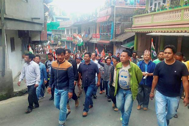 Members of the Gorkha Janmukti Morcha during a strike in Darjeeling Hills on Friday. The judges also directed the West Bengal state government to assess and submit a report within two weeks on the loss to public and private property since the agitation by the GJM started last week. Photo: PTI