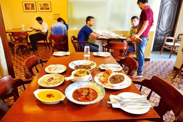 A spread of lesser-known Parsi dishes such as chicken vindaloo, 'masoor ma gos', 'vengna no patio' at Rustom's Parsi Bhonu, Delhi. Photo: Priyanka Parashar/Mint