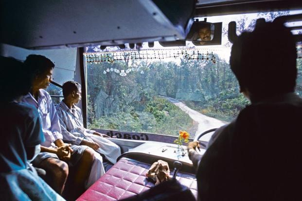 The Andaman Trunk Road, which runs alongside Jarawa territory, seen from a public bus.