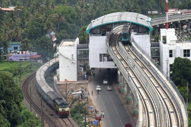 The final trial run of the Kochi Metro at Aluva in Kochi on Friday, a day before its inauguration by Prime Minister Narendra Modi. Photo: PTI