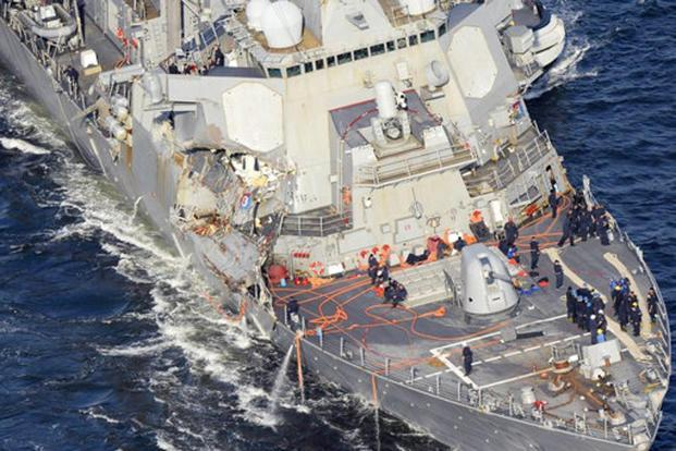 The damaged USS Fitzgerald after the collision on Saturday. Photo: AP