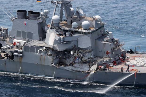 The damaged USS Fitzgerald after the collision on Saturday. Photo: AFP