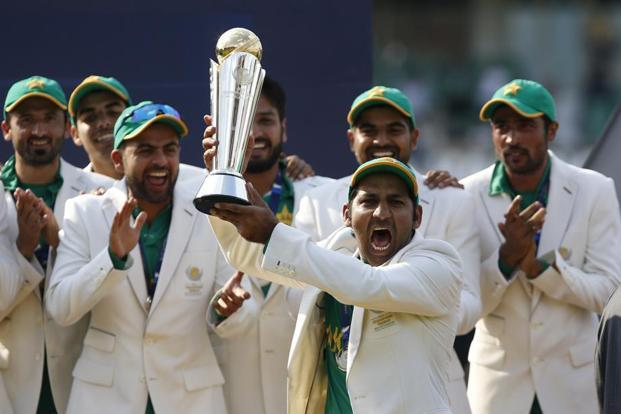 Pakistan players celebrate after winning the ICC Champions Trophy at The Oval on Sunday. Paul Childs/Reuters