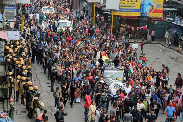 Gorkha Janmukti Morcha (GJM) activists had also taken out a protest march Sunday carrying the bodies of two party supporters. Photo: Reuters