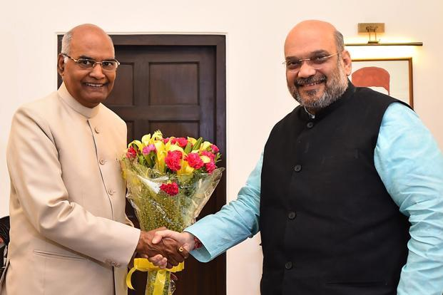 A file photo of Ram Nath Kovind with BJP president Amit Shah. Photo:  PTI