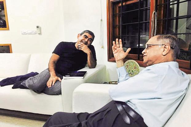 Infosys co-founder N.R. Narayana Murthy and CEO Vishal Sikka. The Infosys shareholder meeting will be held on Saturday.