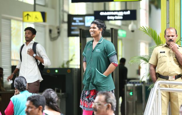 At the Kochi Metro, Sherin Antony has been hired for housekeeping work