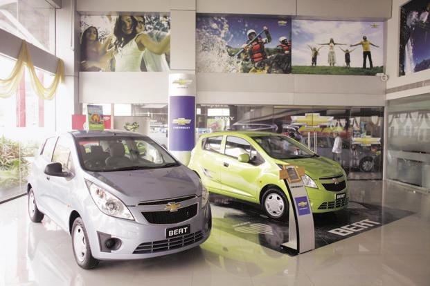Earlier this year, GM India began exporting the Chevrolet Beat hatchback to Latin American markets. Photo: Bloomberg