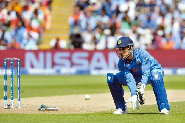 M.S. Dhoni during the Champions Trophy semi-final. Photo: AP