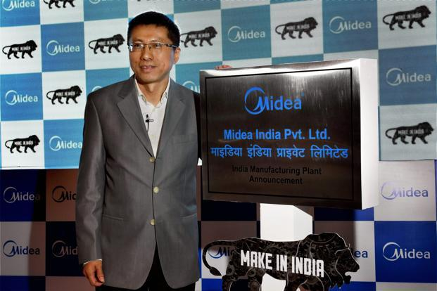 Chinese appliance maker Midea's vice president Andy Gu at a press conference announcing major investments in India, in New Delhi on Thursday. Photo: PTI