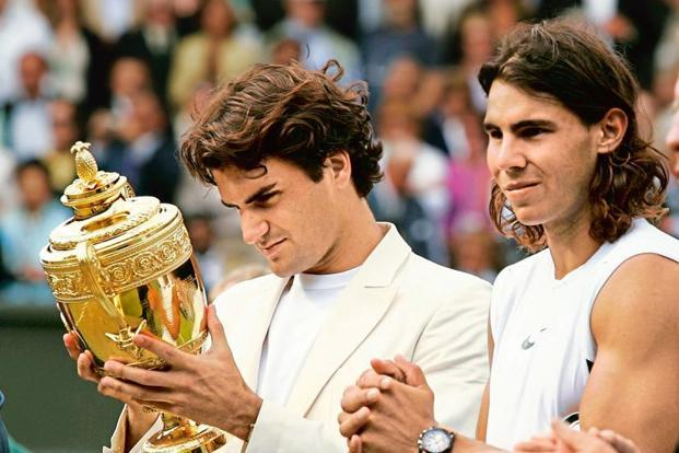 Roger Federer (left) and Rafael Nadal at the presentation ceremony at Wimbledon 2006. Photo: Reuters