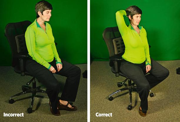 Chin down: Angle your chin down slightly to lengthen the back of your neck.