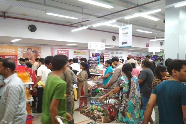 The much awaited tax saw retailers like Big Bazaar going on sale at 12am to bring in the new tax regime. Photo: Kavya Kothiyal/Mint