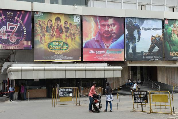A deserted multiplex in Chennai on Monday. The 30% corporation tax effectively takes entertainment tax in Tamil Nadu to 58% from the tax-free status earlier accorded to local Tamil films. Photo: AFP