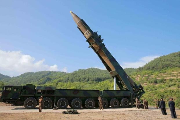North Korea appeared to use a Chinese truck originally sold for hauling timber to transport and erect the ICBM that was successfully launched on Tuesday. Photo: Reuters