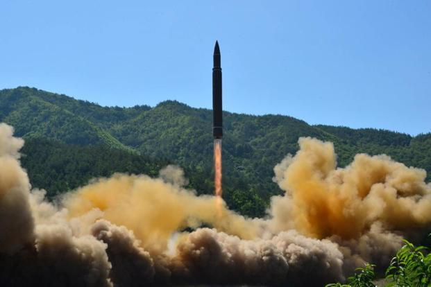 The North Korea's state media said the missile, Hwasong-14, flew 933km, reaching an altitude of 2,802km in its 39 minutes of flight. Photo: KCNA via Reuters