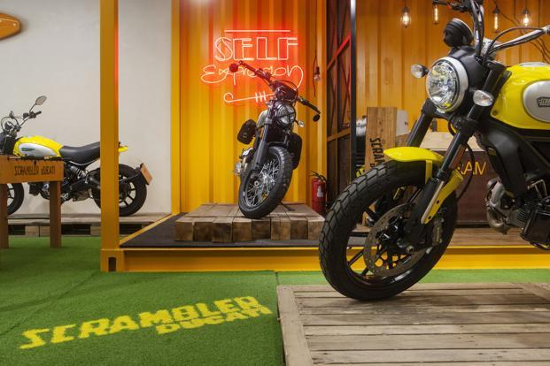 The Ducati Scrambler, with its old-school styling, aims to attract millennials. Harley-Davidson Street, Honda Rebel and BMW G310R are the other affordable, small bikes that first-time riders can choose from. Photo: Bloomberg