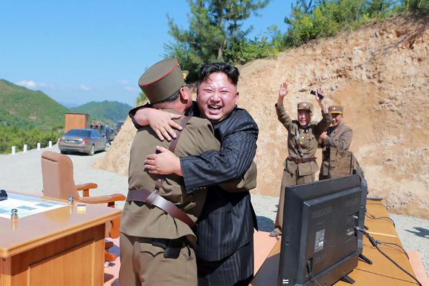 North Korean leader Kim Jong-Un after the successful test-fire of the intercontinental ballistic missile Hwasong-14 on 4 July.