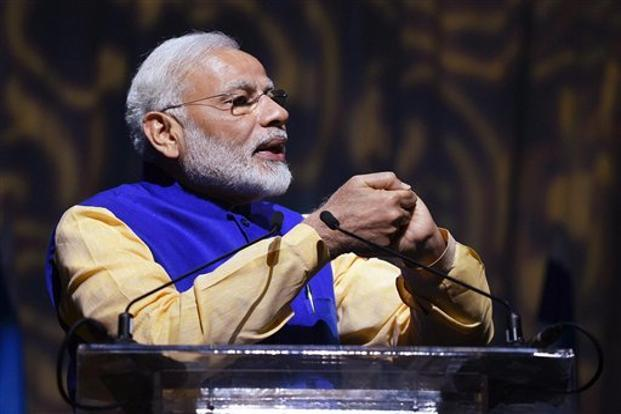 Prime Minister Narendra Modi addressing at the Community Reception Programme in Tel Aviv, Israel, on Wednesday. Photo: PTI