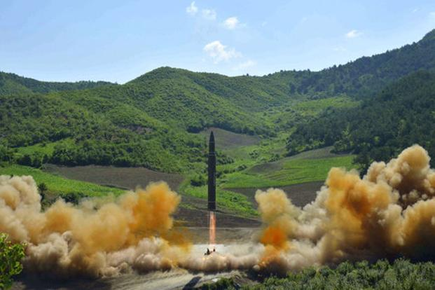 This photo by North Korean government shows what was said to be the launch of a Hwasong-14 intercontinental ballistic missile 4 July 2017. Photo: KCNA via AP