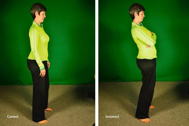 When standing, bend your knees just a bit and allow the pelvis to sag somewhat.