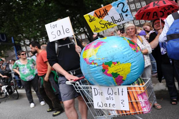"Protesters during the ""solidarity without borders instead of G-20"" on 8 July in Hamburg. Photo: AFP"