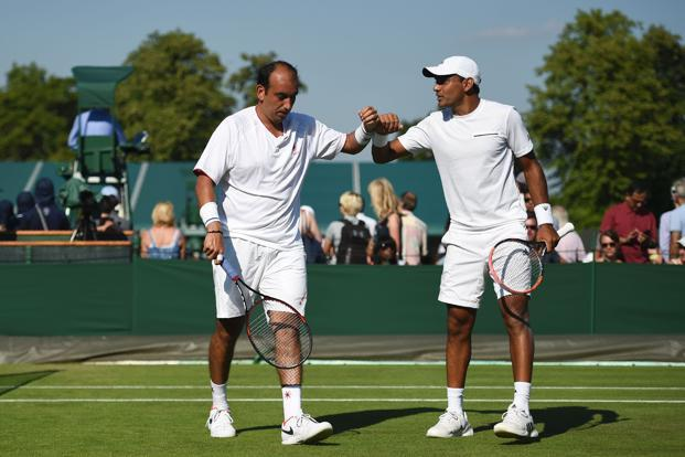 Purav Raja (Left) and Divij Sharan during their first round doubles match at Wimbledon on 5 July. Photo: AFP