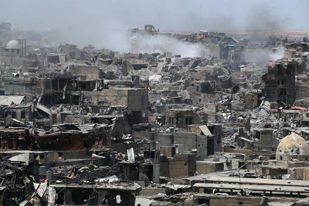 A general view of the destruction in Mosul's Old City on Sunday. Photo: Ahmad al-Rubaye/AFP