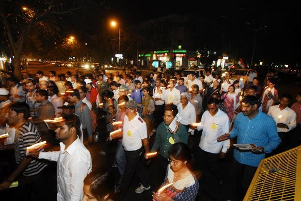 The candle light march will take place at the Azad Maidan in Mumbai on Thursday evening. Photo: Ramesh Pathania/Mint